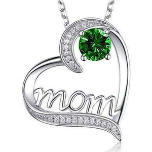 Jewelry - Sale Mothers Silver Heart Diamond Emerald Necklace